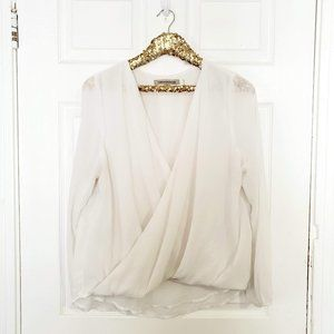 Foreign Exchange White Semi-Sheer Surplice Top L